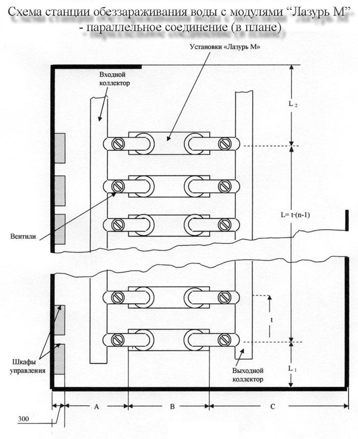 Схема станции обеззараживания воды ультрафиолетом и ультразвуком с модулями Лазурь М - параллельное соединение...